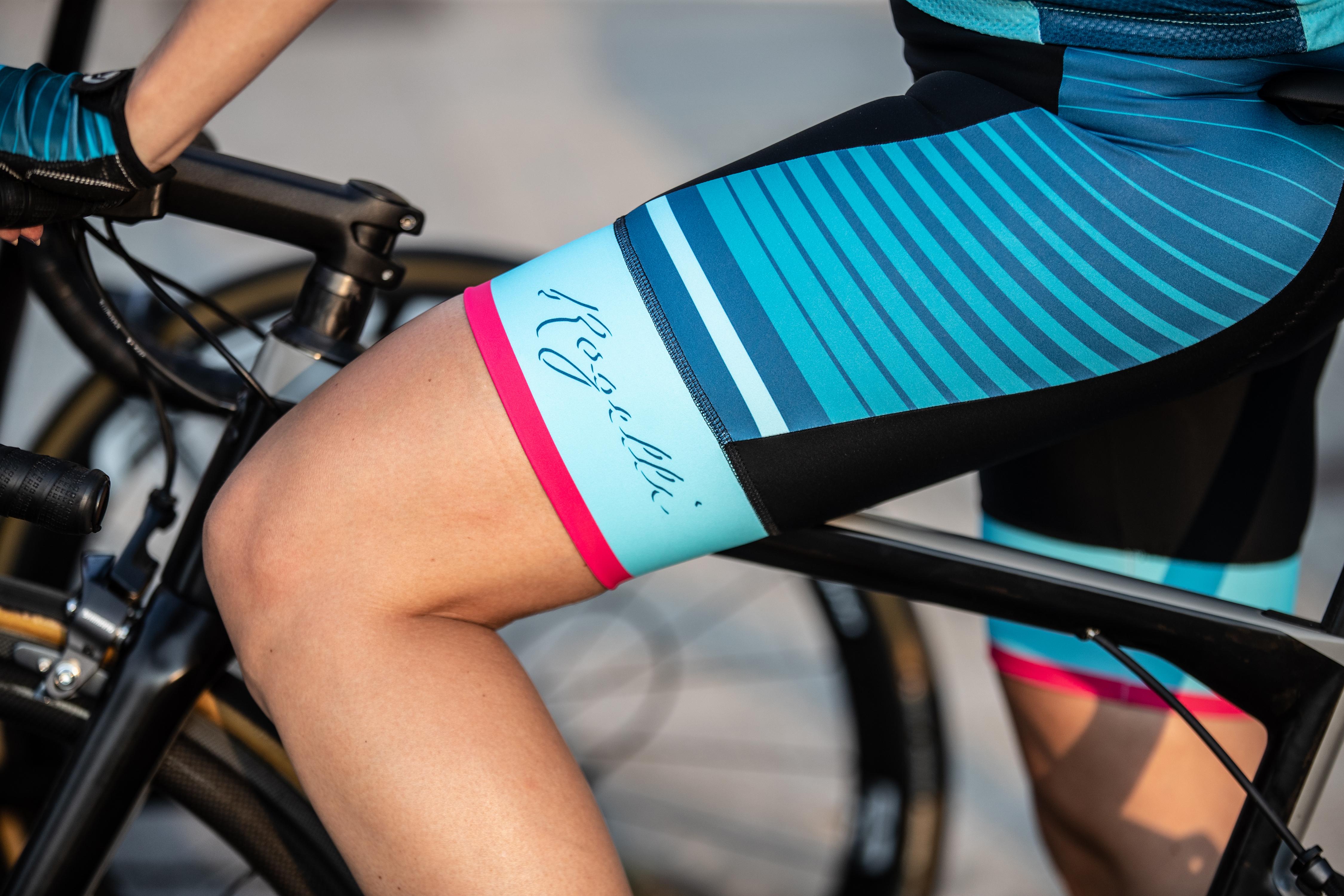 Dames fietsbroek Impress Zwartblauwroze Fiets en
